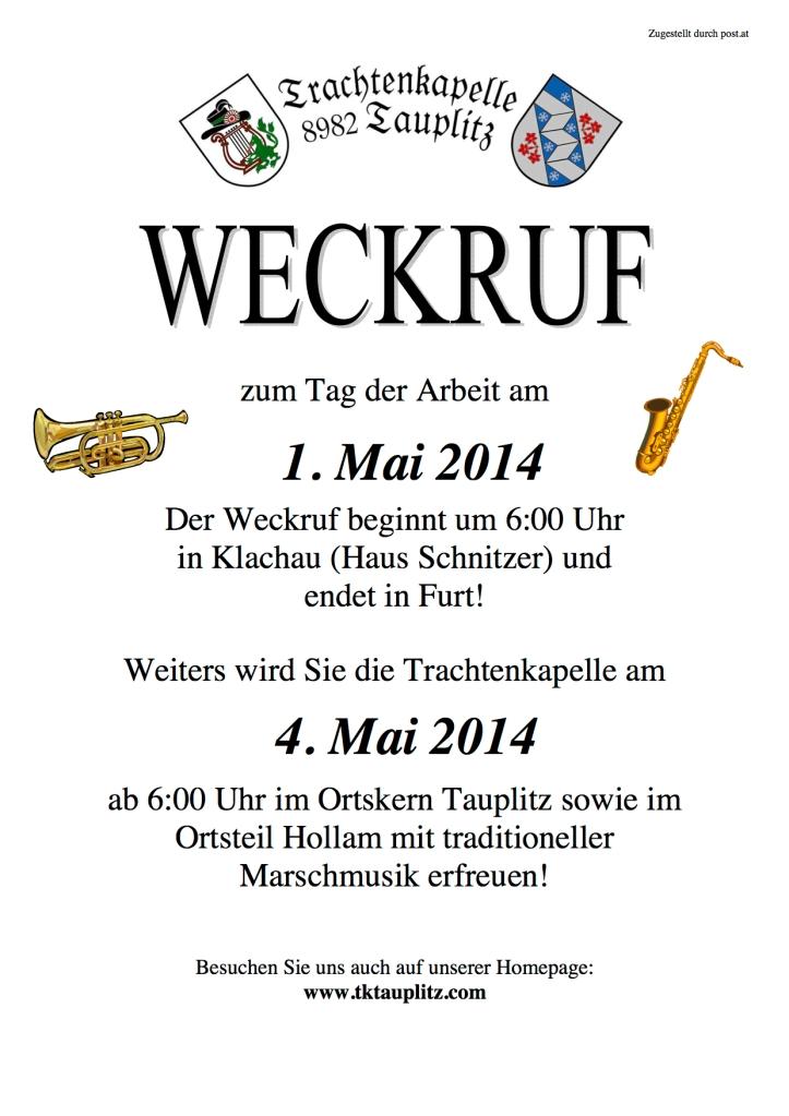 Weckruf 1.Mai und 4. Mai  2014